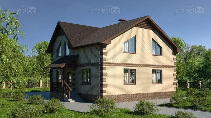 Проект двухэтажного дома с террасой и четырьмя спальнями 149-C